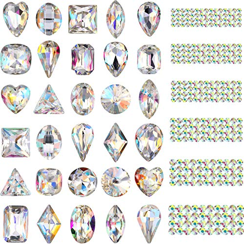 Bememo 2000 Pieces 3D Crystal AB Color Rhinestones Nail Art DIY Crafts Gemstones with 30 Nail Art Metal Gem Stones, Total 2030 Pieces (Clear Style)