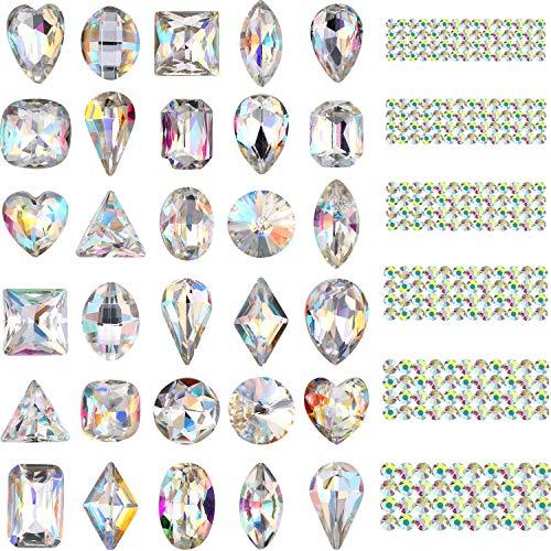 Bememo 2000 Stück 3D Kristall AB Farbe flache Rückseite Strass Nail Art DIY Basteln Edelsteine mit 30 Nagel Kunst Metall Edelsteine Steine Insgesamt 2030 Stück