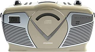 Sylvania Retro Style Portable CD Boombox with AM/FM Radio- Top Loading CD - Aux-in Jack - AC & Battery Compatible - LCD Di...