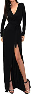 Vivicastle Women's USA Sexy Long Sleeve Tulip Wrap Slit Front Full Long Maxi Dress