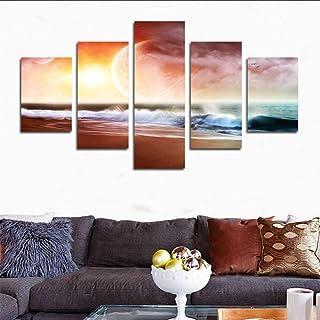 TYUIOP 5 موجات أنيقة ولوحات غروب الشمس لتزيين المنازل، لوحة زيتية حديثة لتزيين الصور للعائلات الصحراوية