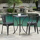 Christopher Knight Home Colmar Outdoor Metal Bistro Set, 3-Pcs Set, Black With Silver