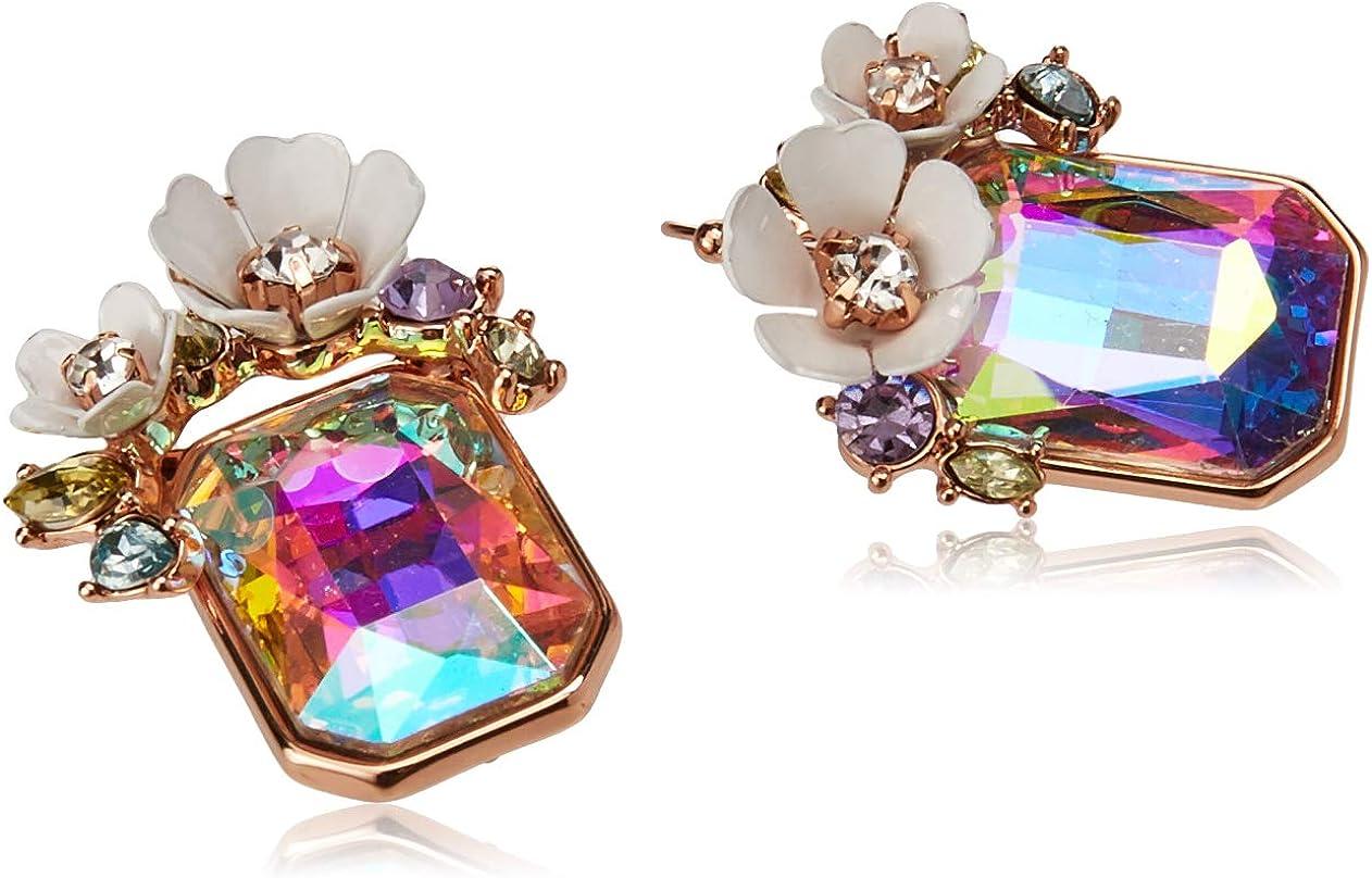 Flower Cluster Stone Drop Earrings