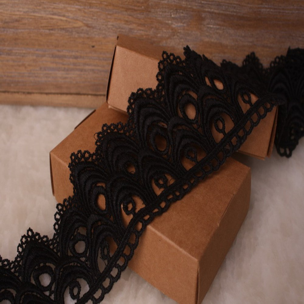 4 Yards in one Package 6CM Width Europe Flower Pattern Inelastic Embroidery Trims,Curtain Tablecloth Slipcover Bridal DIY Clothing//Accessories. Black