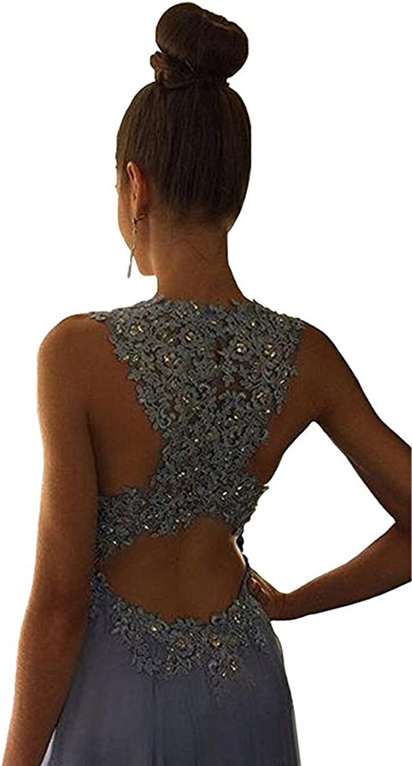 XPLE Gorgeous A Line High Neck Lace Prom Dress Beading Evening Gown D29