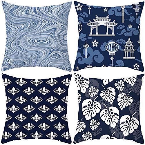 Funda de Cojín Funda de Almohada Cuadrado Decoración Almohada 45x45 cm Lino Juego de 4 para Sofá Sala de Estar Coche Cama Sillas Hogar Decorativa para Cojines Sofa Imágenes de Porcelana Azul y Blanca