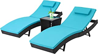 Oakmont Outdoor Patio Furniture Chaise Lounge Chair Adjustable Wicker Couch Bed Blue Thick Cushion