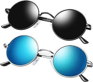 KANASTAL Round Polarized Sunglasses for Men and Women, Vintage John Lennon Sunglasses Metal Frame (2 Pack)