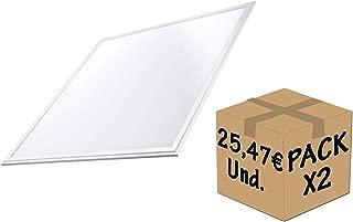 FactorLED Pack 2x Panel LED 60x60 cm 40W, 2 unidades Lampara LED para Falso Techo, Placa LED para Techo Técnico, Bajo Consumo, 3800 Lumenes, Marco Blanco (Blanco Frío)