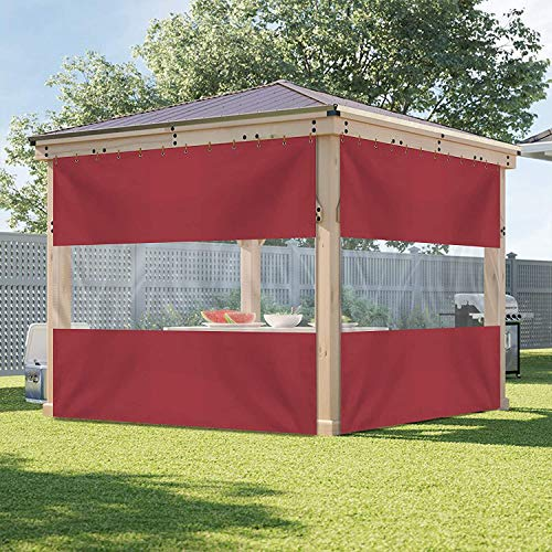Outdoor Vinyl Curtain with Clear Tarp Panel 18 Oz - Weather Resistant Patio Outdoor Vinyl Curtain - with Rustproof Grommets - for Pergola, Porch, Gazebos (10' H x 4' W , Red)