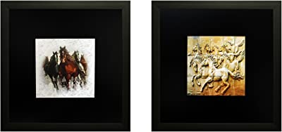 SAF Set of 2 Textured Print with Uv Framed Reprint Painting (SANFO808, 25 cm x 3 cm x 25 cm) SANFO808
