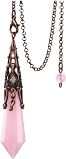 Top Plaza Reiki Healing Crystal Dowsing Rose Quartz Pendulum Necklaces for Divination Bronze Wicca Balancing Pointed Penda...