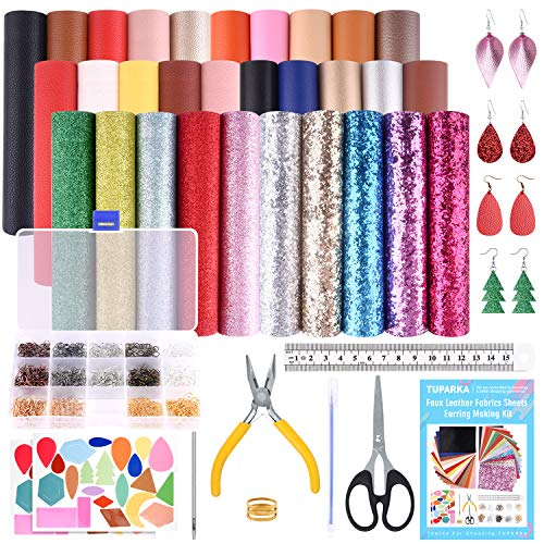 TUPARKA 30 Pcs Faux Leather Fabric Sheet 6 Kinds of Leather Fabric for Earring Making Crafts with Hole Puncher, 210 Set Earring Hooks, Pliers and Cut Molds (A5 Size)