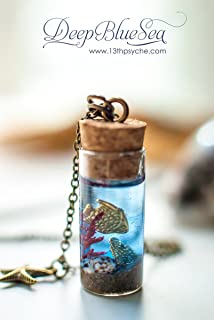 Collana bottiglia di oceano, pesci dorati bottiglia ciondolo, collana di conchiglie di oceano in miniatura, pendente shell...