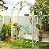 ガーデンガーデン ゴージャスアイアンアーチ&ゲート 高さ213cm×幅137cm×奥行58cm 立体構造 アンティークホワイト IPN-7974-WHT