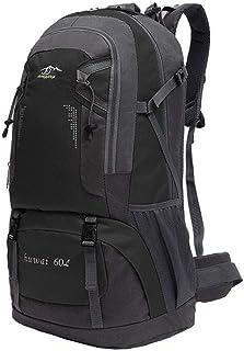Mochila de 60 litros para Senderismo Marcha de Montaña Trekking Camping Deporte al Aire Libre ergonómica Negra