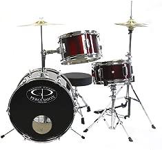 GP Percussion GP50WR Complete Junior Drum Set (Wine Red, 3-Piece Set)
