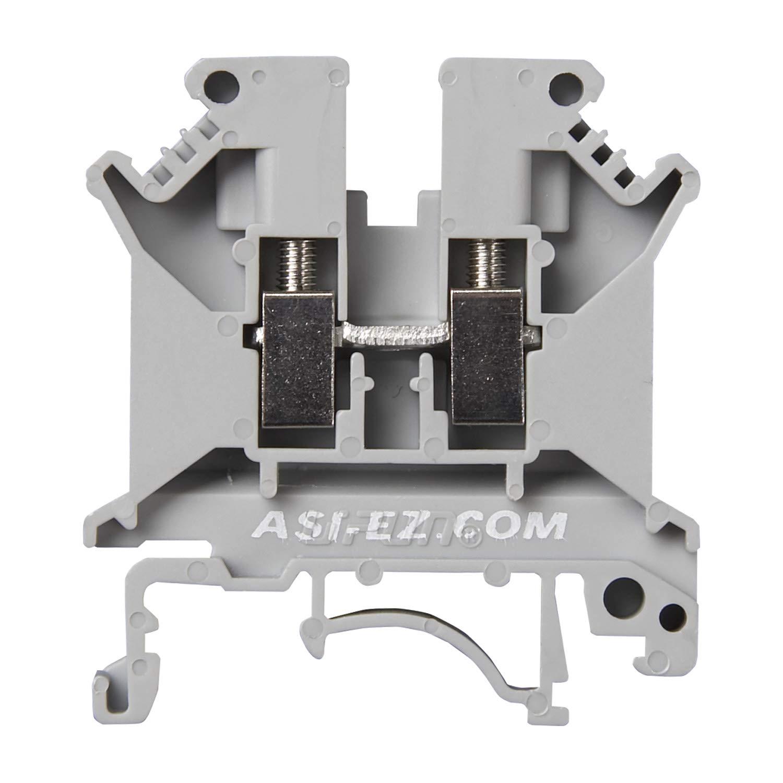 ASI ASIUK6N Din Rail Mounted Terminal Block Screw Clamp Pack of 50