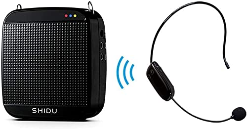 Amplificateur vocal sans fil,SHIDU Amplificateur vocal sans fil UHF 18W Haut-parleur de système de sonorisation porta...