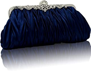 Silk Cocktail Evening Handbags/Clutches in Gorgeous Silk More Colors Availabl (dark blue)