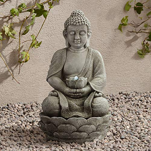 John Timberland Sitting Buddha Asian Zen Outdoor Water Fountain with Light LED 22' High for Table Desk Yard Garden Patio Deck Home Relaxation