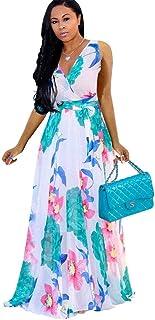 فساتين ماكسي نسائية الصيف بدون أكمام التفاف الرقبة الخامس الشيفون الأزهار شاطئ فستان كاجوال طويل