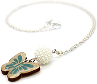 Blue WOODEN Butterfly with Pearl White Bead Necklace (K-Blossoms)