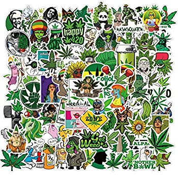 Gywyw Weed Pot Leaf Stickers 100 Pcs Cool Vinyl Marijuana Decals Funny Smoke Waterproof Aesthetic Stickers for Adults Hydroflask Water Bottles Laptop Computer Bumper Car Bike Bicycle