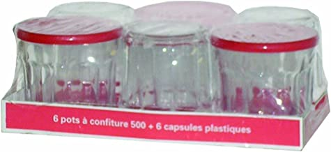 Arc International Luminarc Working Glass, 16.75-Ounce with Red Lids, Set of 6