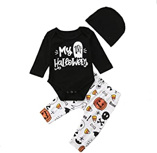 Baby Boys Long Sleeve My 1st Halloween Letter Print Romper Cotton Bodysuit Tops Long Pants Outfits Set