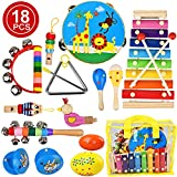 kingdous Toddler Kids Musical Instruments Sets Toys, Baby Musical Toys Wooden Percussion Instruments, Preschool Educational Wood Toys with Storage Bag for Kids Babies Children Boys and Girls