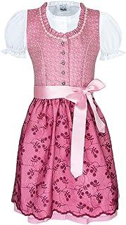 Isar-Trachten Kurzes Kinder Dirndl Bea mit Spitzenschürze - Rosa Pink - Mädchen Trachtenkleid Gr. 116-164