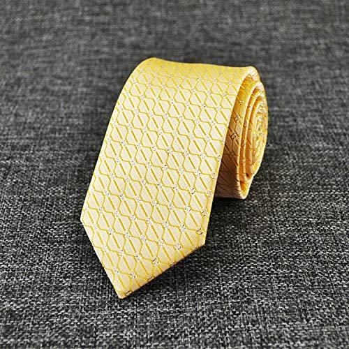 LBBJJ Heren Tie 7cm geel check casual business tie mannen Britse smalle stropdas, geel (hand om te spelen) heeft: stropdas, mode stropdas, eenvoudige stropdas, vintage stropdas, klassieke stropdas, heren stropdas.