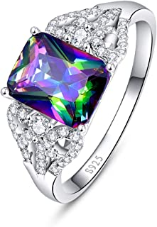 Halo Engagement Rings for Women with 925 Sterling Silver Round Oval Cut Created Mystic Rainbow Topaz Cubic Zirconia CZ