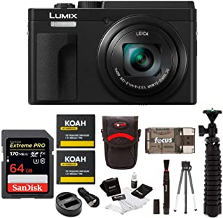 Panasonic LUMIX ZS80 24-720mm Travel Zoom Lens Digital Camera (Black) Bundle with 64GB Extreme Pro, 2 Battery/Dual Charger kit, Spider Tripod, and Camera Accessory Bundle