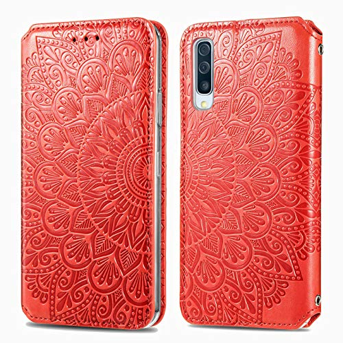 Trugox Cover Portafoglio per Samsung A70 in Pelle Fiore Custodia a Libro con Supporto Antiurto Case Cover Wallet per Samsung Galaxy A70 - TRSDA140242 Rosso