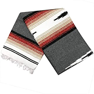 Open Road Goods Charcoal Black Mexican Yoga Blanket - Thick Navajo Diamond with Vintage Retro Serape Red Tan Brown and White Stripes