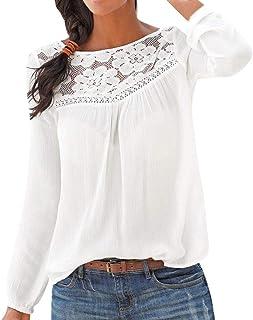 VECDY Tops Femme Col V Manches Longues Hauts Femme T-Shirts Couleur Unie Chemisier Femmes Tops Irr/éguli/ère Cama/ïeu Casual Pulls Casual Tunique