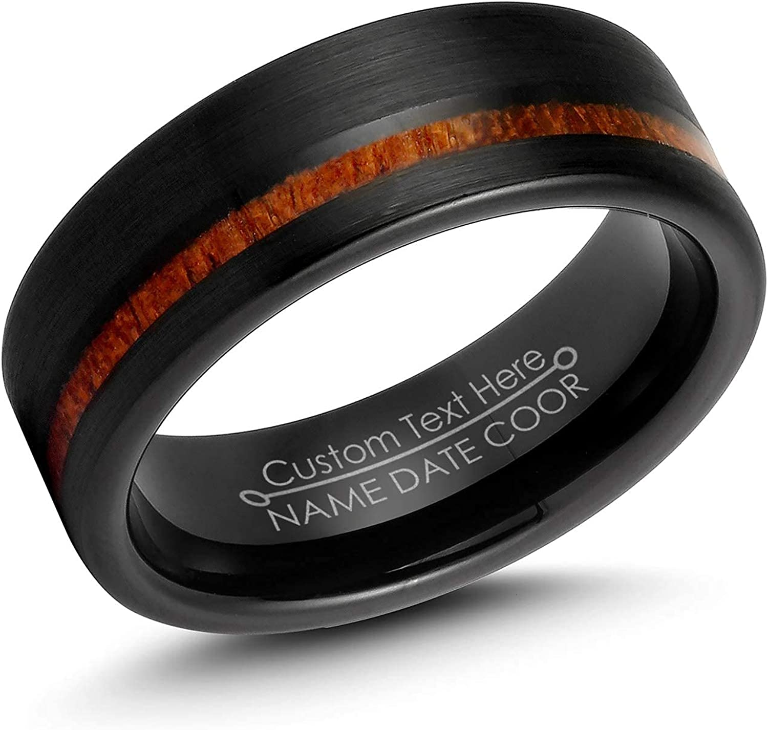 LerchPhi Mens 8mm Black Tungsten Carbide Ring Outside Matte Brushed with Wooden Texture Inlay Free Personalized Engrave Supported Comfort Fit Wedding Band