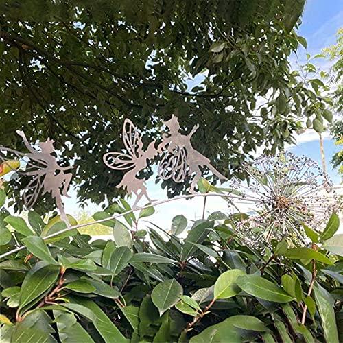 Baishi 2D Gartenfee Deko Pfahl Fee spielt auf dem Pusteblume Metall Kunst Elfe Silhouette Ornament für Outdoor