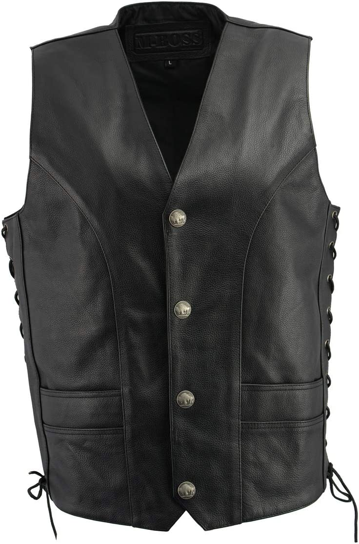 M Boss Motorcycle Apparel BOS13507 Men's Black Side Lace Leather Vest with Buffalo Nickel Snaps - 4X-Large