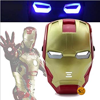 """Sage Square Light-Up LED """"Avengers"""" Mask for Costume Parties, Cosplay and Dress-up for Boys & Girls (Iron Man)"""