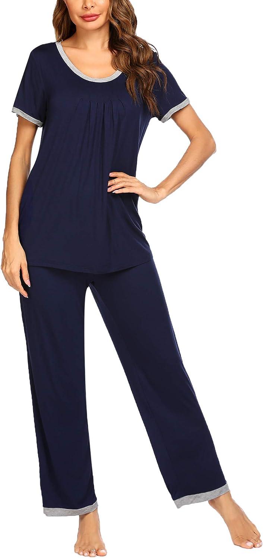 Ekouaer Pajamas Set Women's Sleepwear Short Sleeve Pj Two-Piece Tops Long pants Soft and Comfy Loungewear