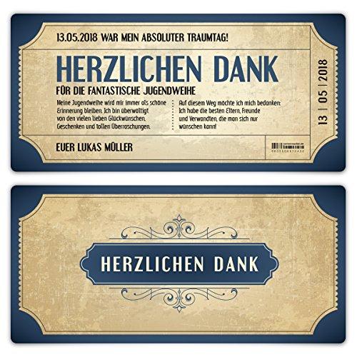 20 x Jugendweihe Dankeskarten Danksagungskarten Danksagung Jugendweihekarten - Vintage Eintrittskarten in Blau
