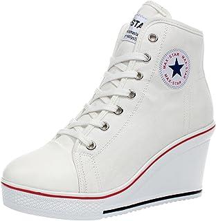 wealsex Baskets Mode Compensées Montante Sneakers Tennis Chaussures Casuel Toile Femme