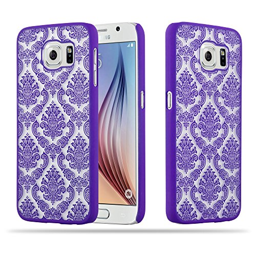 Cadorabo Samsung Galaxy S6 (Nicht für Edge) Hardcase Hülle in LILA Blumen Paisley Henna Design Schutzhülle – Handyhülle Bumper Back Hülle Cover