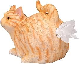 WHAT ON EARTH Cat Butt Tissue Holder - Orange Tabby Cat - Fits Square Tissue Box - Resin