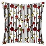 DRXX Juguetes navideños Bolas patrón de Estrellas Suave Funda de Almohada Cuadrada Funda de cojín sofá de casa Decorativo 45X45cm Ultra cómodo