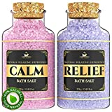 SPA Bath Salts Lavender Gift Set - Enriched with 5 Minerals for Deep Sleep, Calm and Relief - Bath Salts Soak for Sore Muscles, Relax and Soften Body Skin and Foot - Comes in Luxury Gift Box