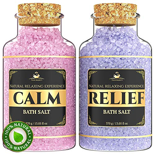 SPA Bath Salts Lavender Gift Set - Enriched with 5 Minerals for Deep Sleep, Calm and Relief - Bath Salts for Sore Muscles - Relax and Soften Body Skin and Foot - Comes in Luxury Gift Box